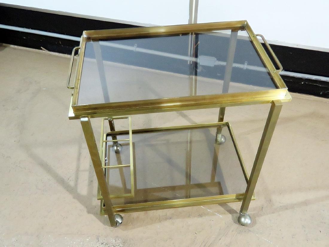 ITALIAN BRASS AND GLASS BAR CART - 2