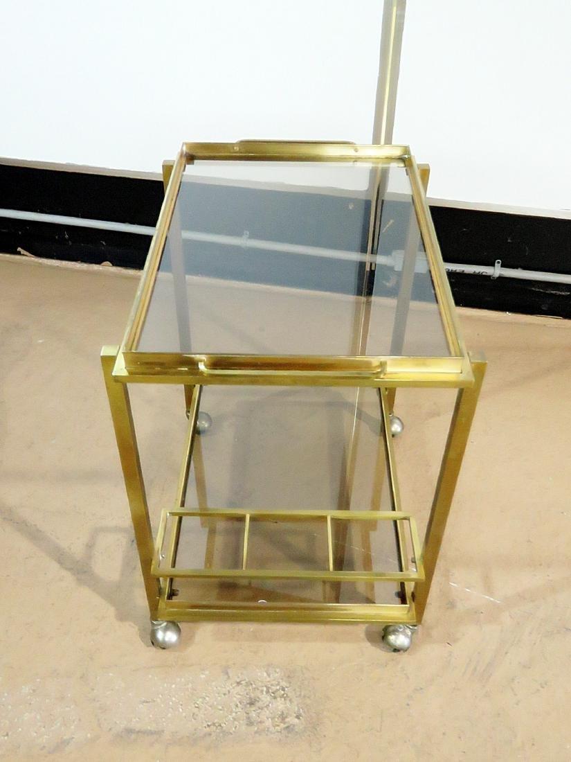 ITALIAN BRASS AND GLASS BAR CART - 3