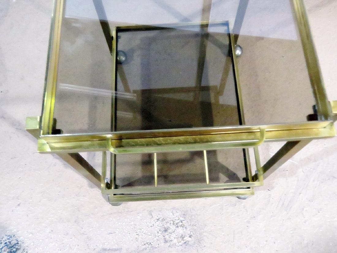 ITALIAN BRASS AND GLASS BAR CART - 4