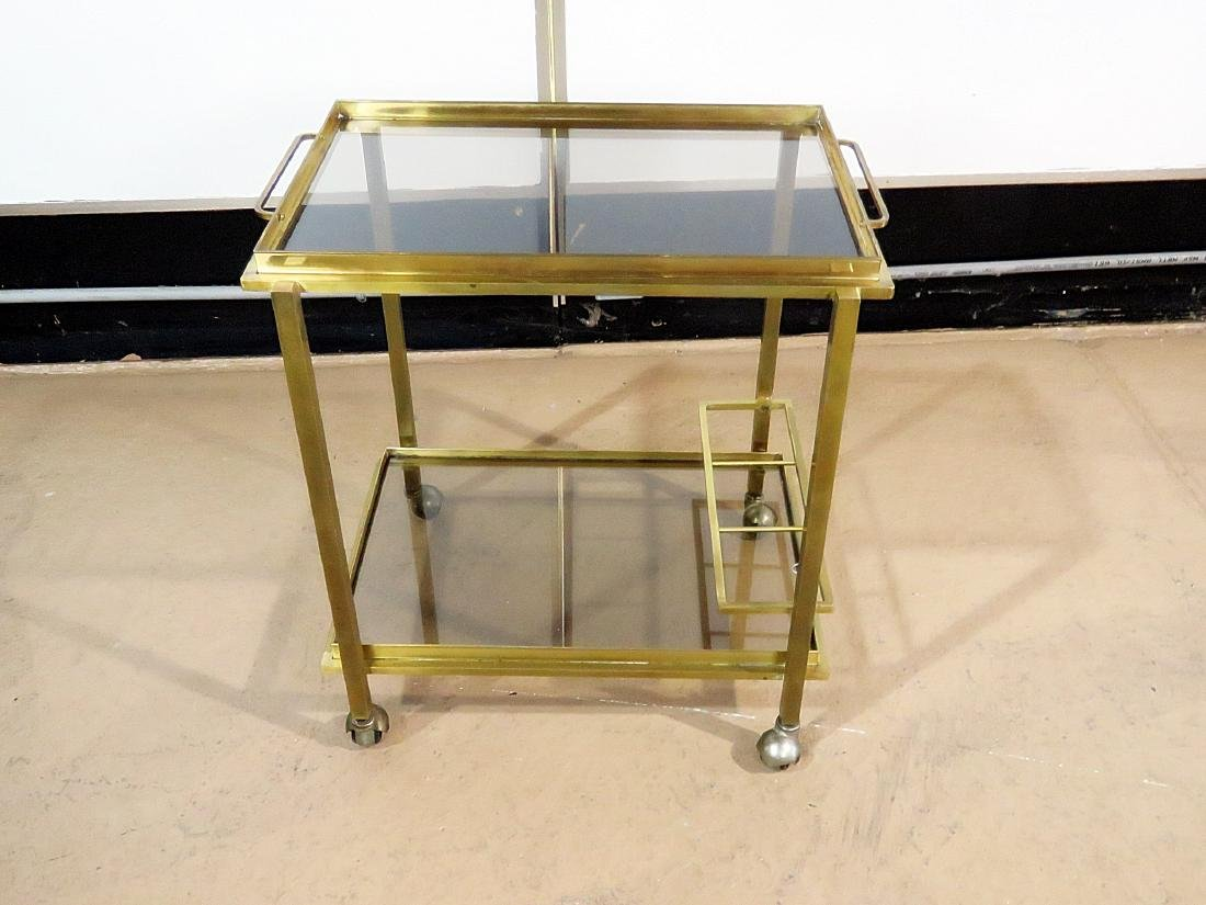 ITALIAN BRASS AND GLASS BAR CART - 5