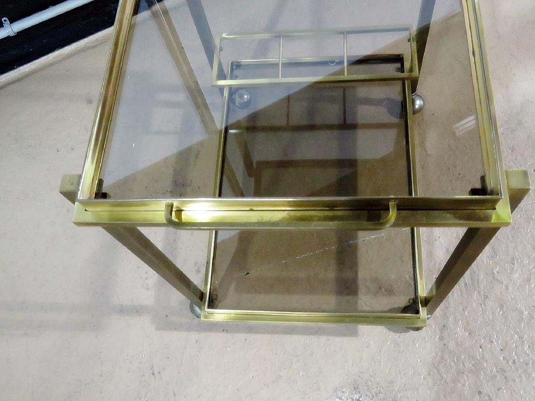 ITALIAN BRASS AND GLASS BAR CART - 6