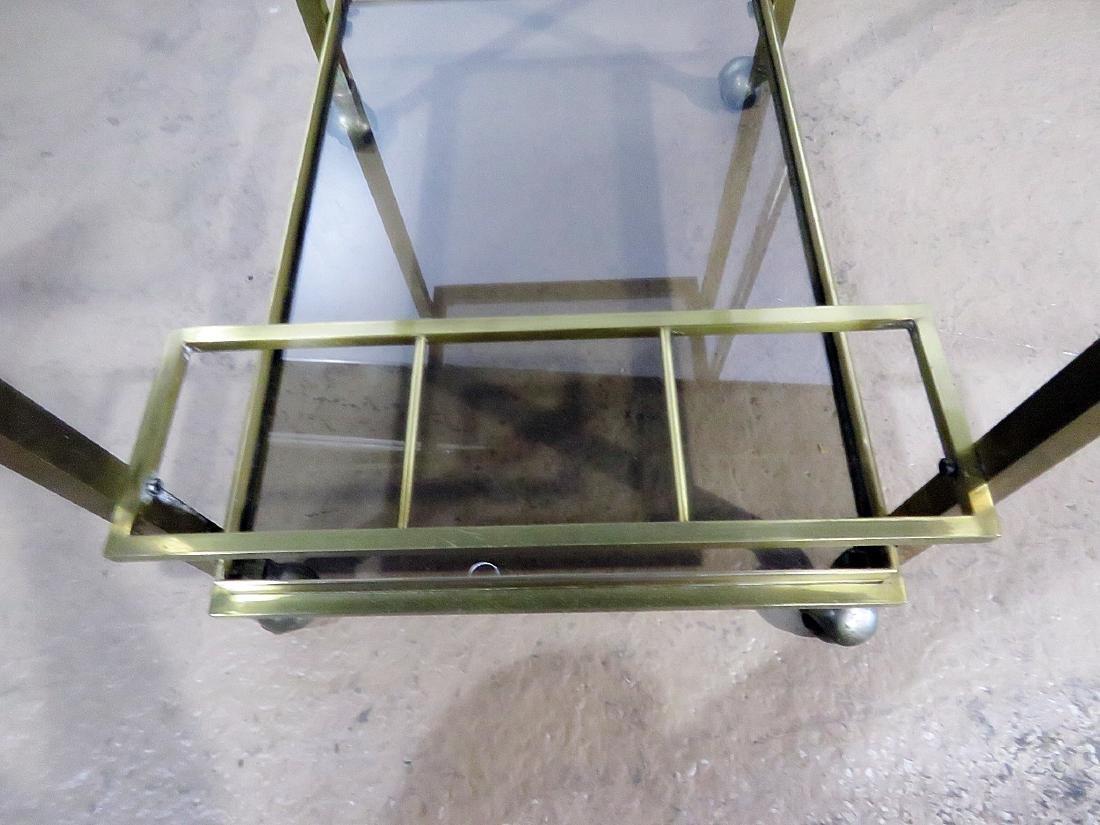 ITALIAN BRASS AND GLASS BAR CART - 7