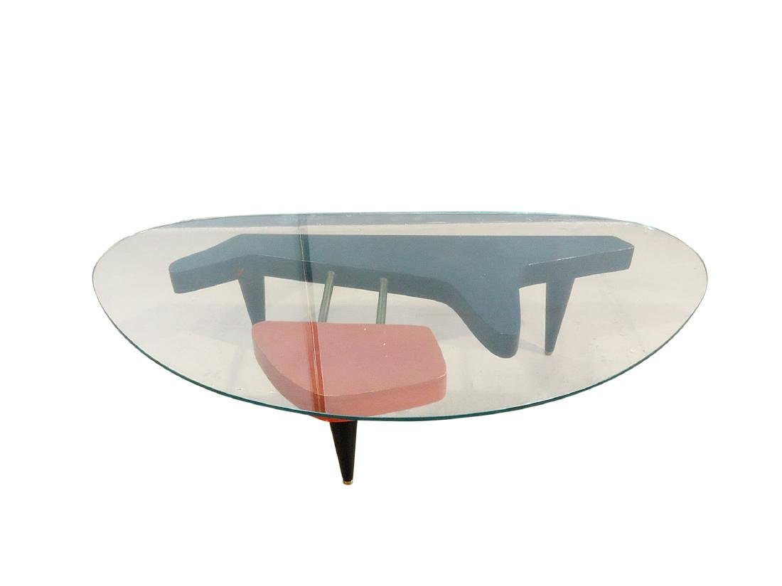 MID CENTURY MODERN GLASS TOP COFFEE TABLE