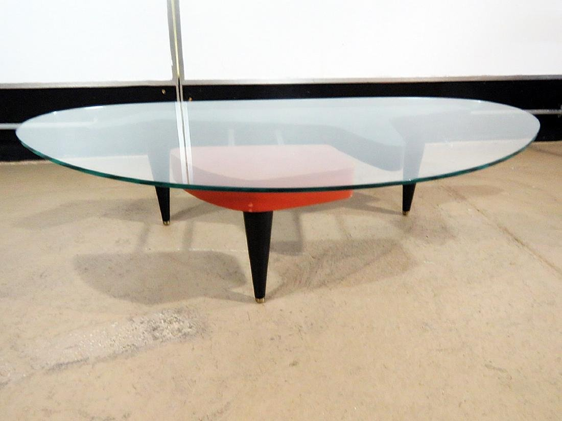 MID CENTURY MODERN GLASS TOP COFFEE TABLE - 2