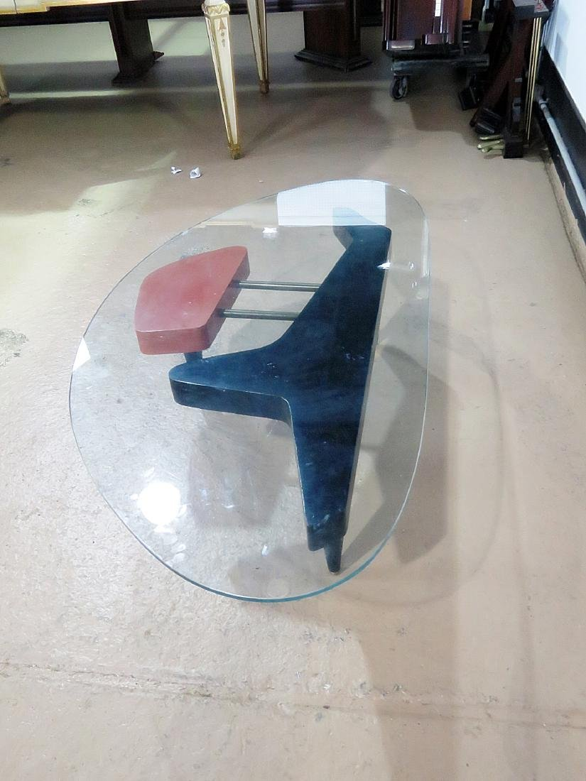 MID CENTURY MODERN GLASS TOP COFFEE TABLE - 7