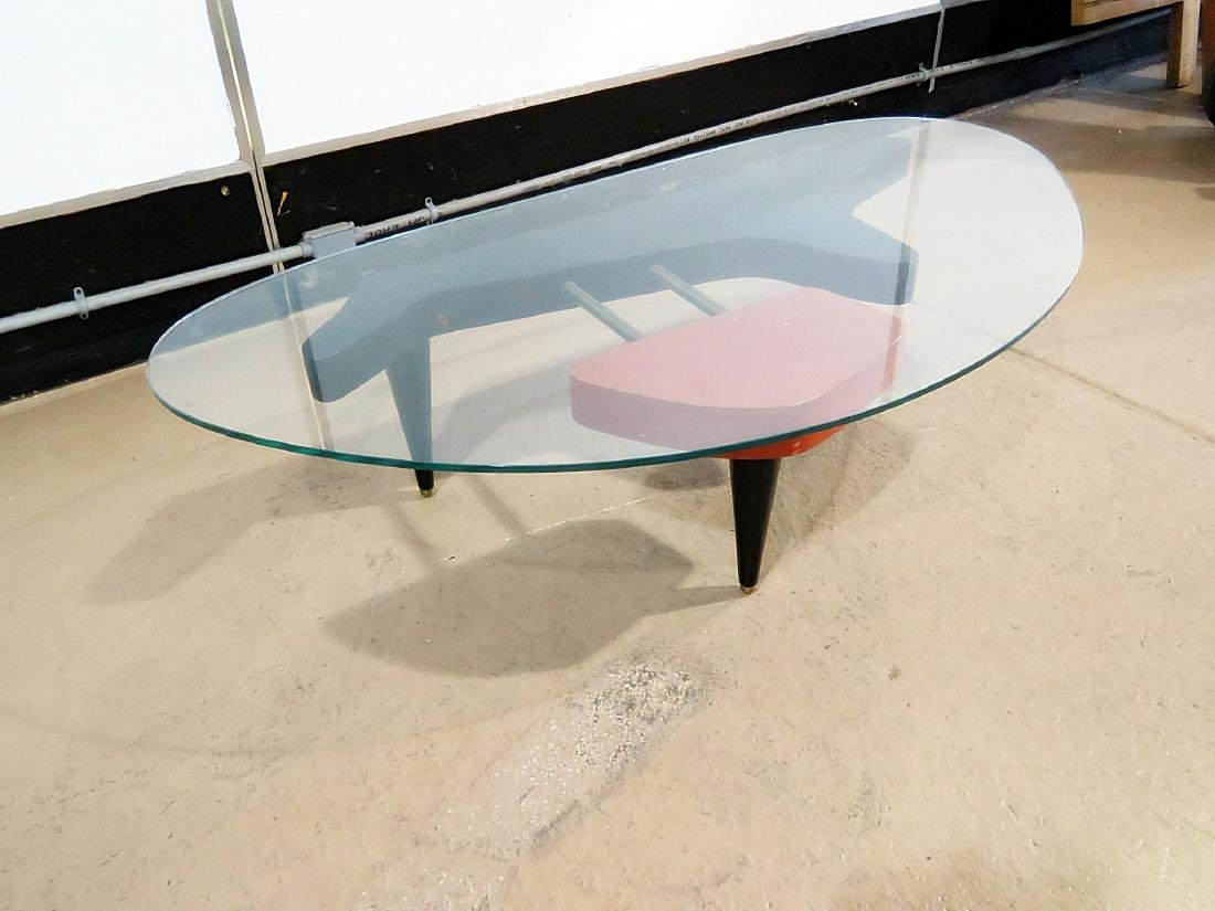 MID CENTURY MODERN GLASS TOP COFFEE TABLE - 9