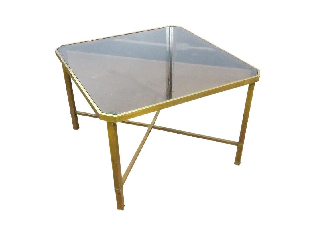 ITALIAN BRASS AND GLASS TOP COFFEE TABLE