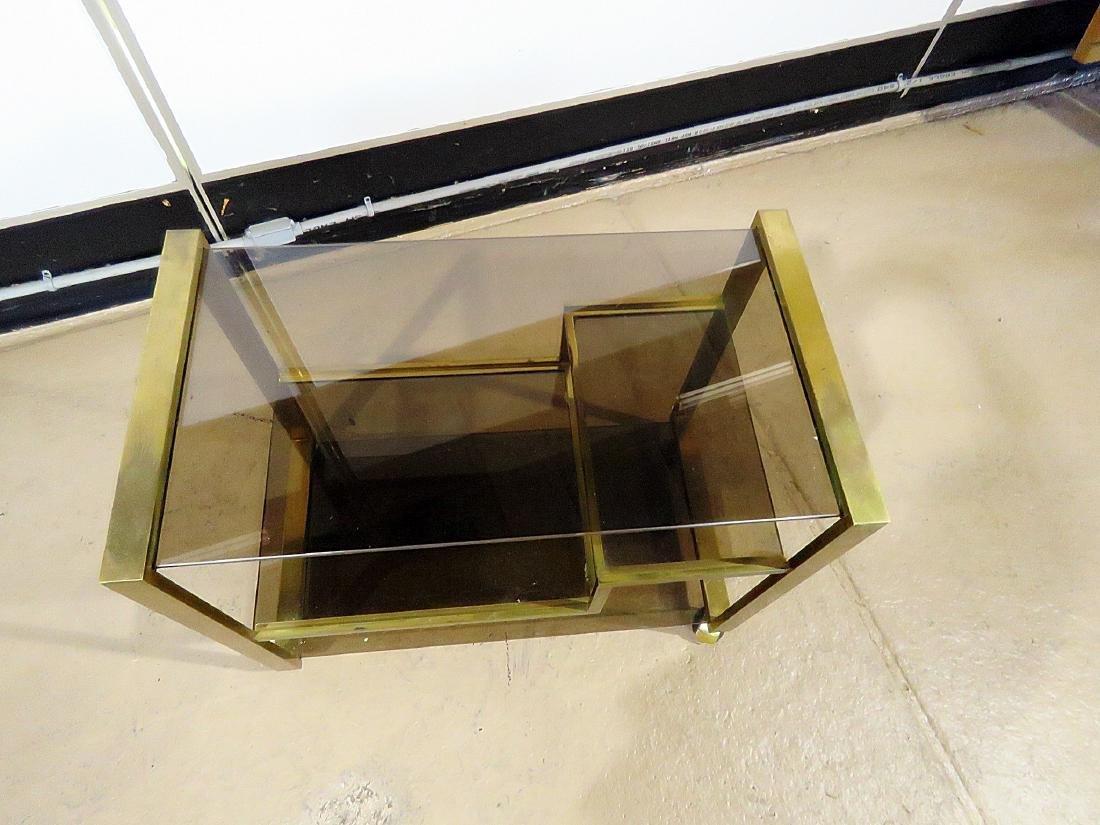 ITALIAN BRASS AND GLASS BAR CART - 9