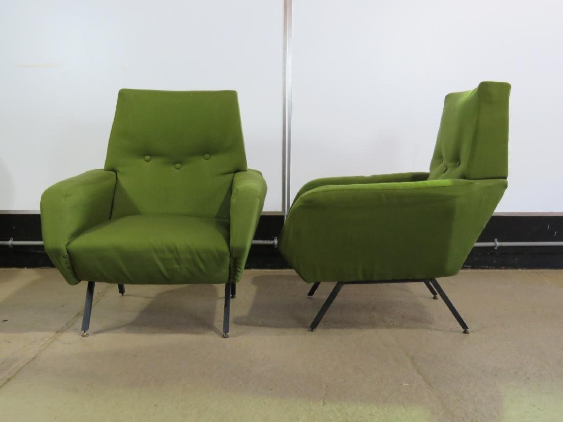 Pair VINTAGE ITALIAN UPHOLSTERED ARM CHAIRS - 3