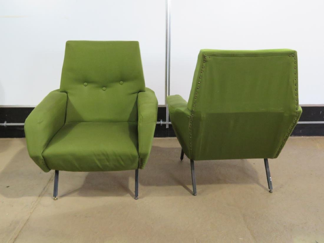 Pair VINTAGE ITALIAN UPHOLSTERED ARM CHAIRS - 5