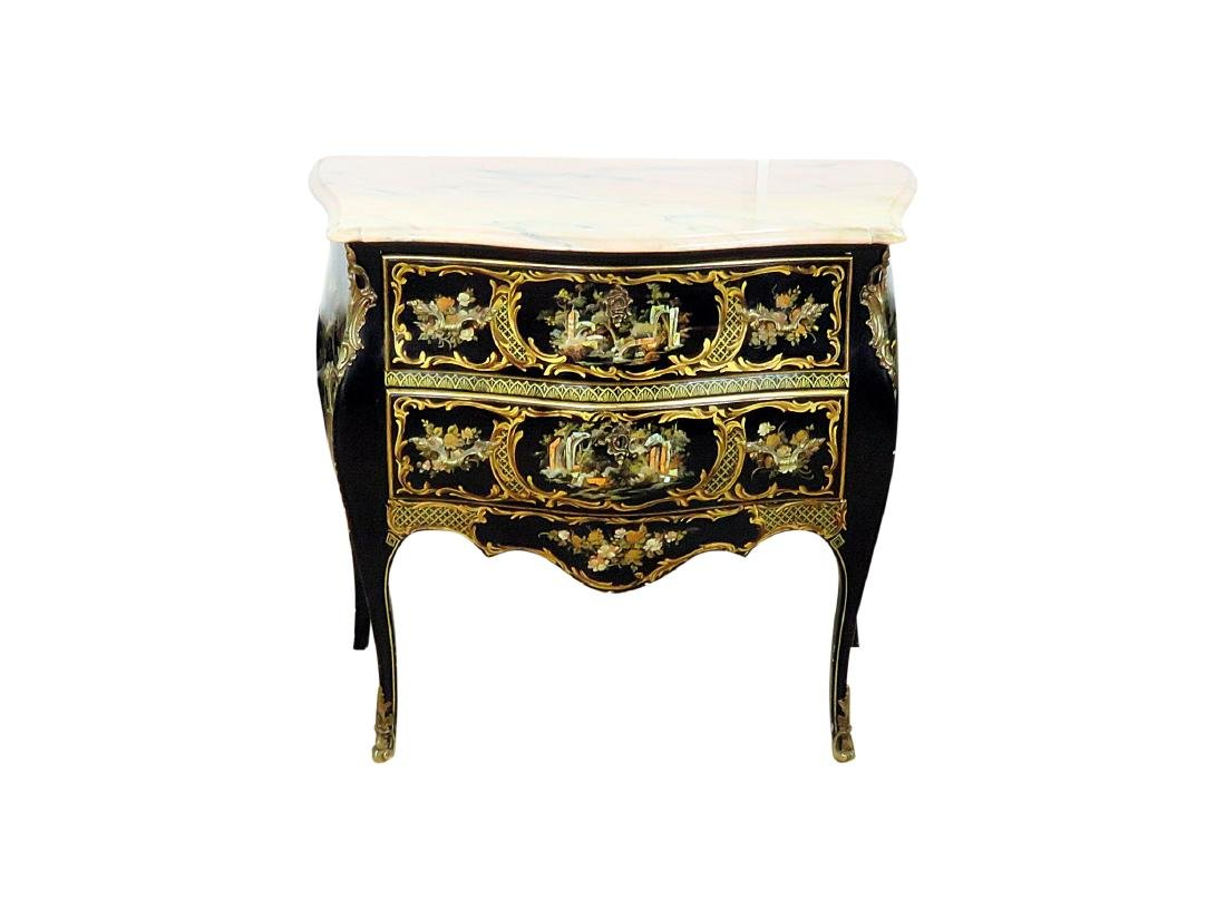 CHINOISERIE MARBLE TOP BOMBAY COMMODE