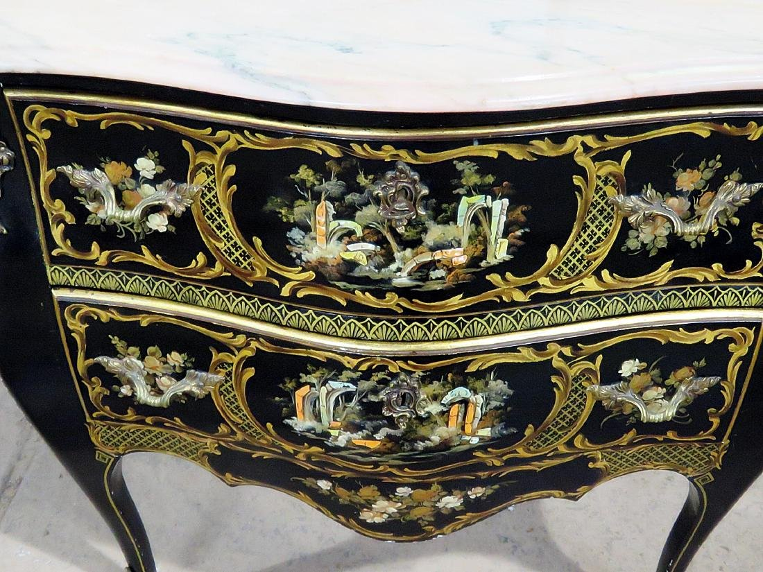CHINOISERIE MARBLE TOP BOMBAY COMMODE - 5