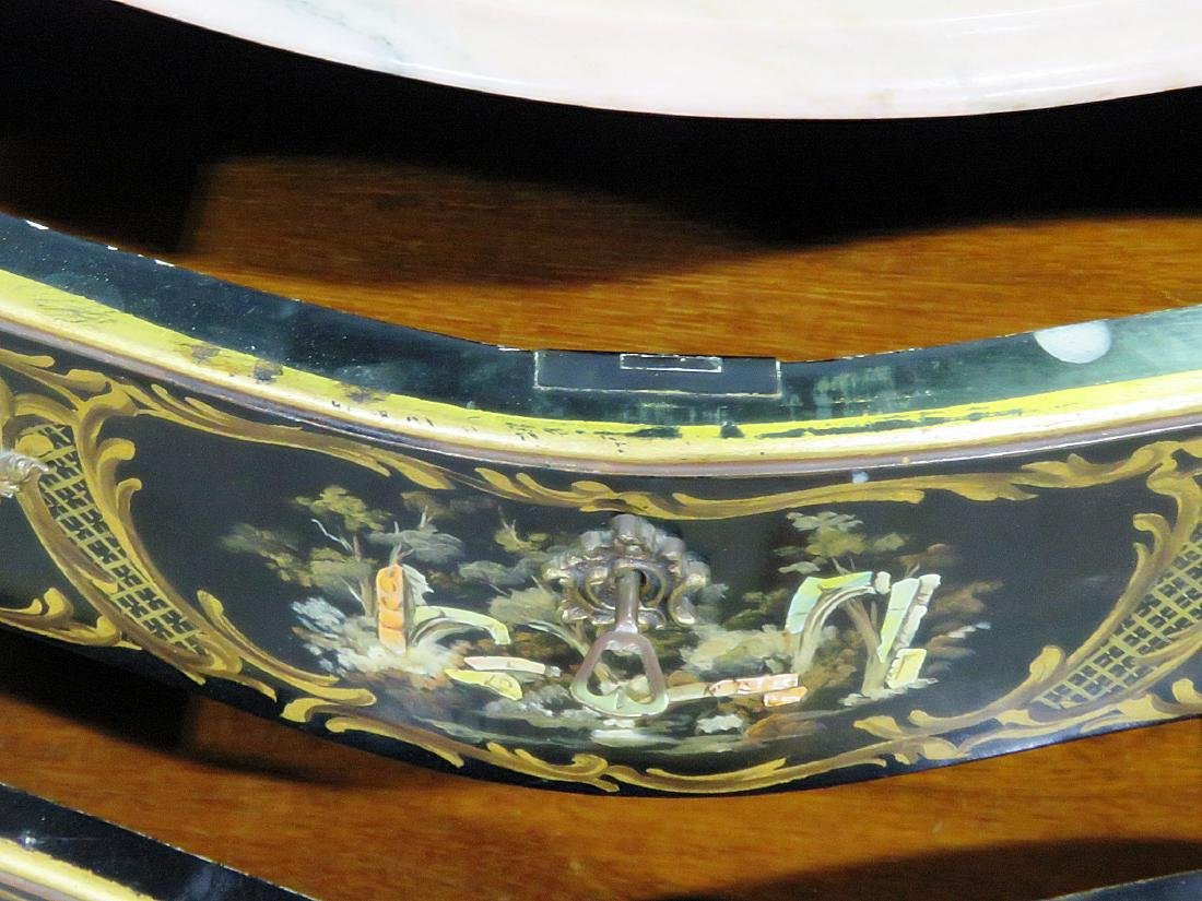 CHINOISERIE MARBLE TOP BOMBAY COMMODE - 8