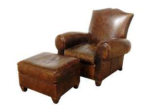 Mitchell Gold Art Deco Lounge Chair Ottoman