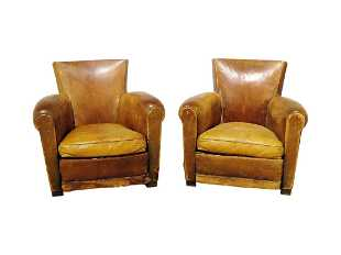 Companion Pair French Art Deco Leather Club Chairs