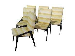 6 John Stuart Ebonized Dining Chairs