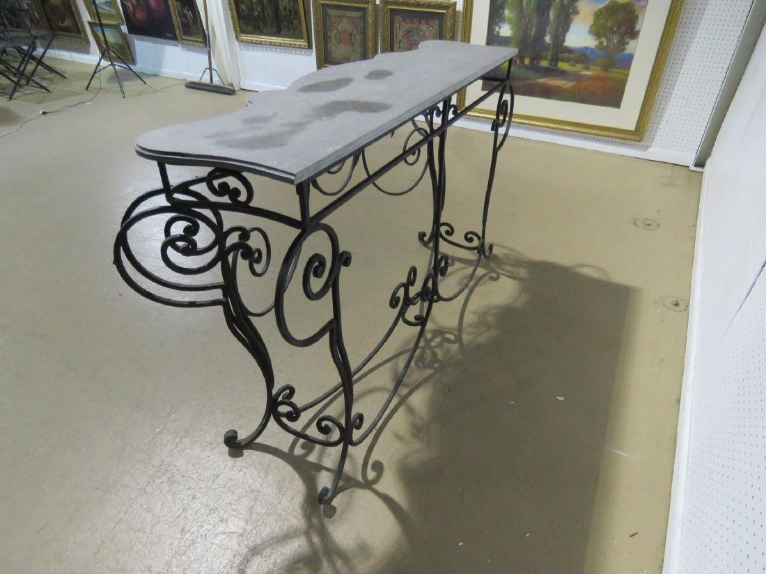WROUGHT IRON AND STONE TOP CONSOLE TABLE - 10