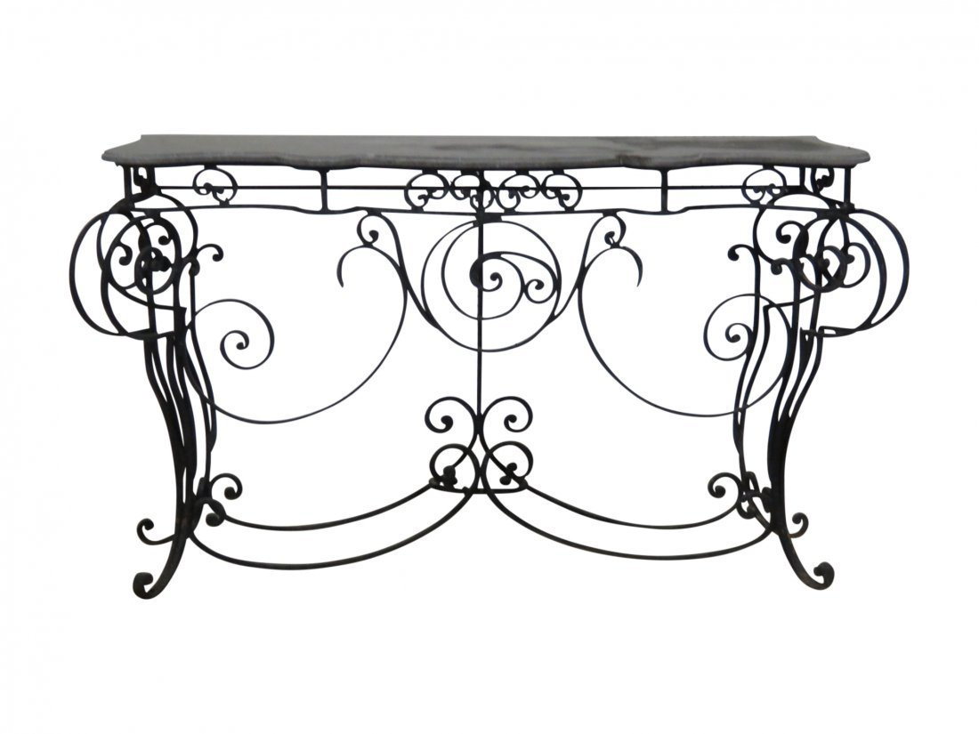 WROUGHT IRON AND STONE TOP CONSOLE TABLE