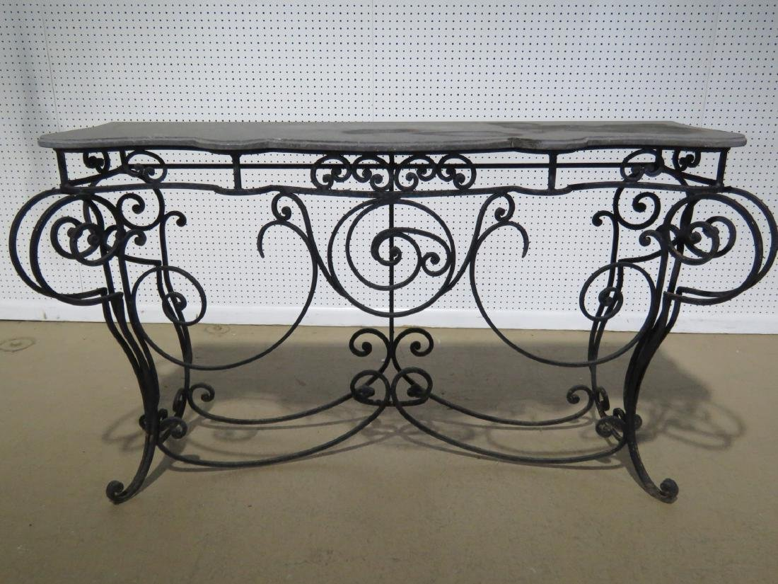 WROUGHT IRON AND STONE TOP CONSOLE TABLE - 2