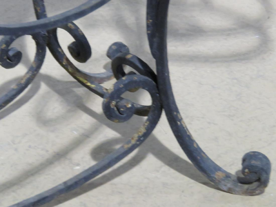 WROUGHT IRON AND STONE TOP CONSOLE TABLE - 4