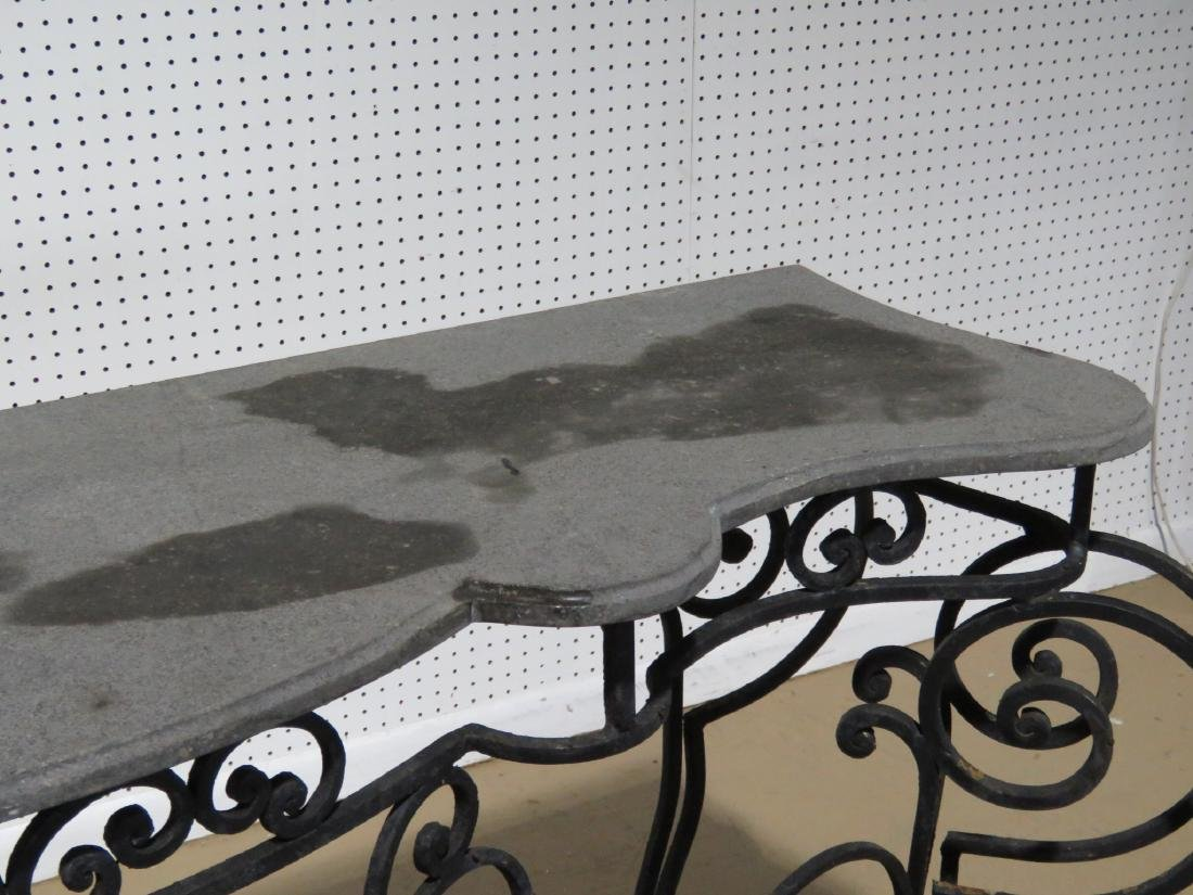 WROUGHT IRON AND STONE TOP CONSOLE TABLE - 5