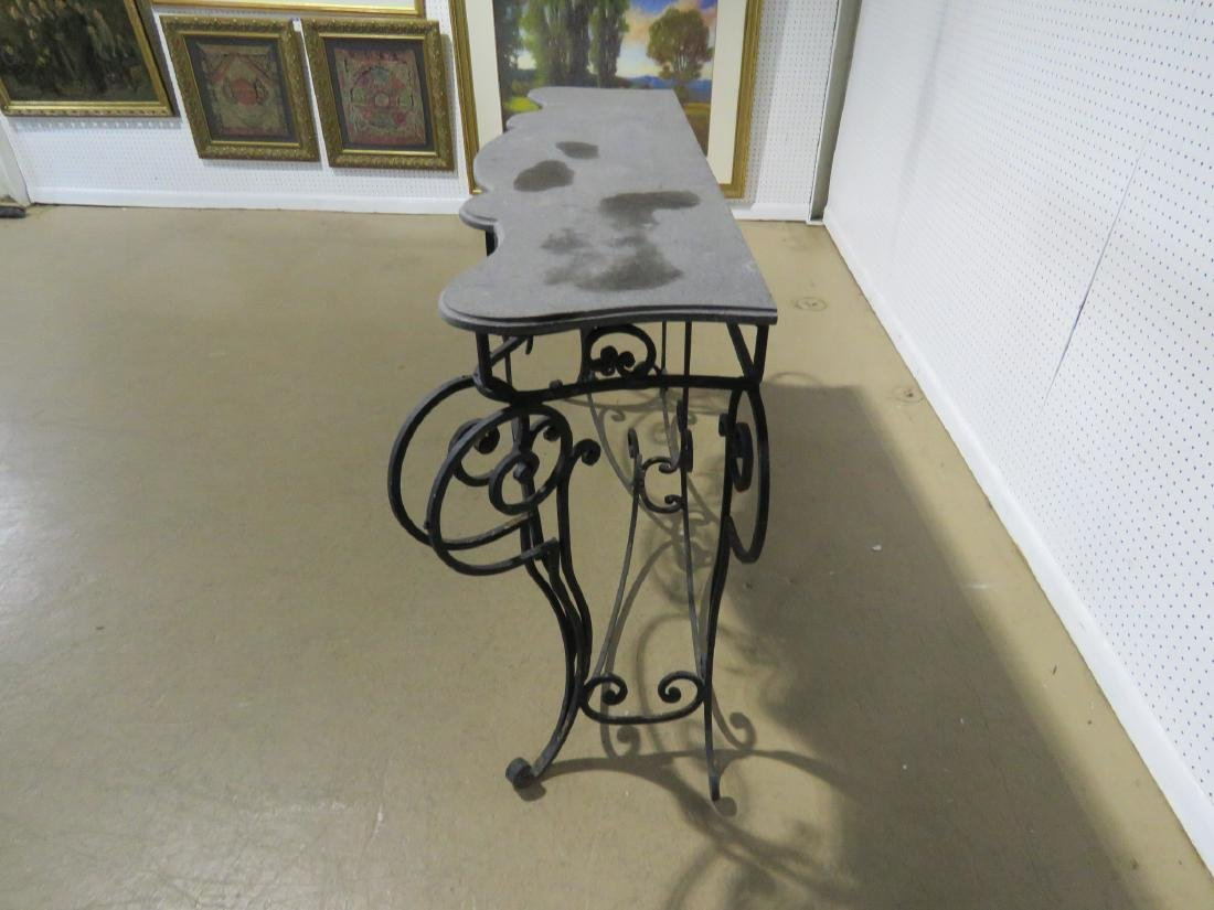 WROUGHT IRON AND STONE TOP CONSOLE TABLE - 9