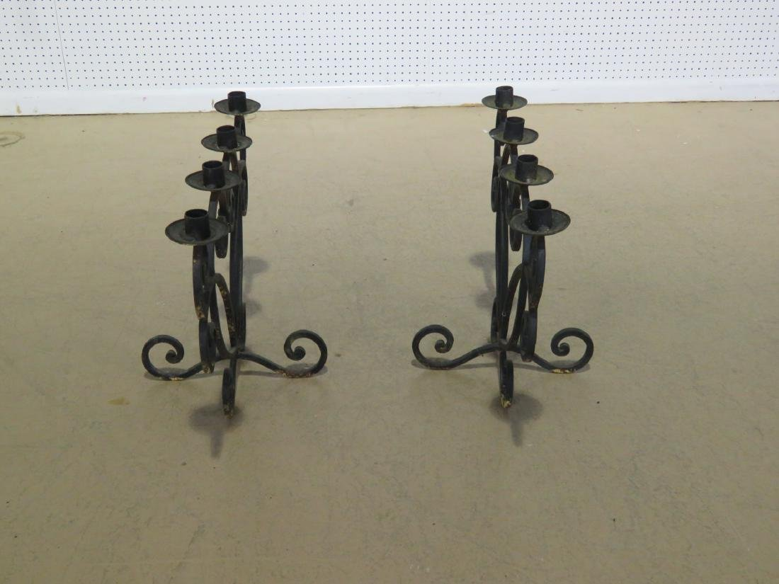 Pair WROUGHT IRON DECORATIVE CANDLE HOLDERS - 10