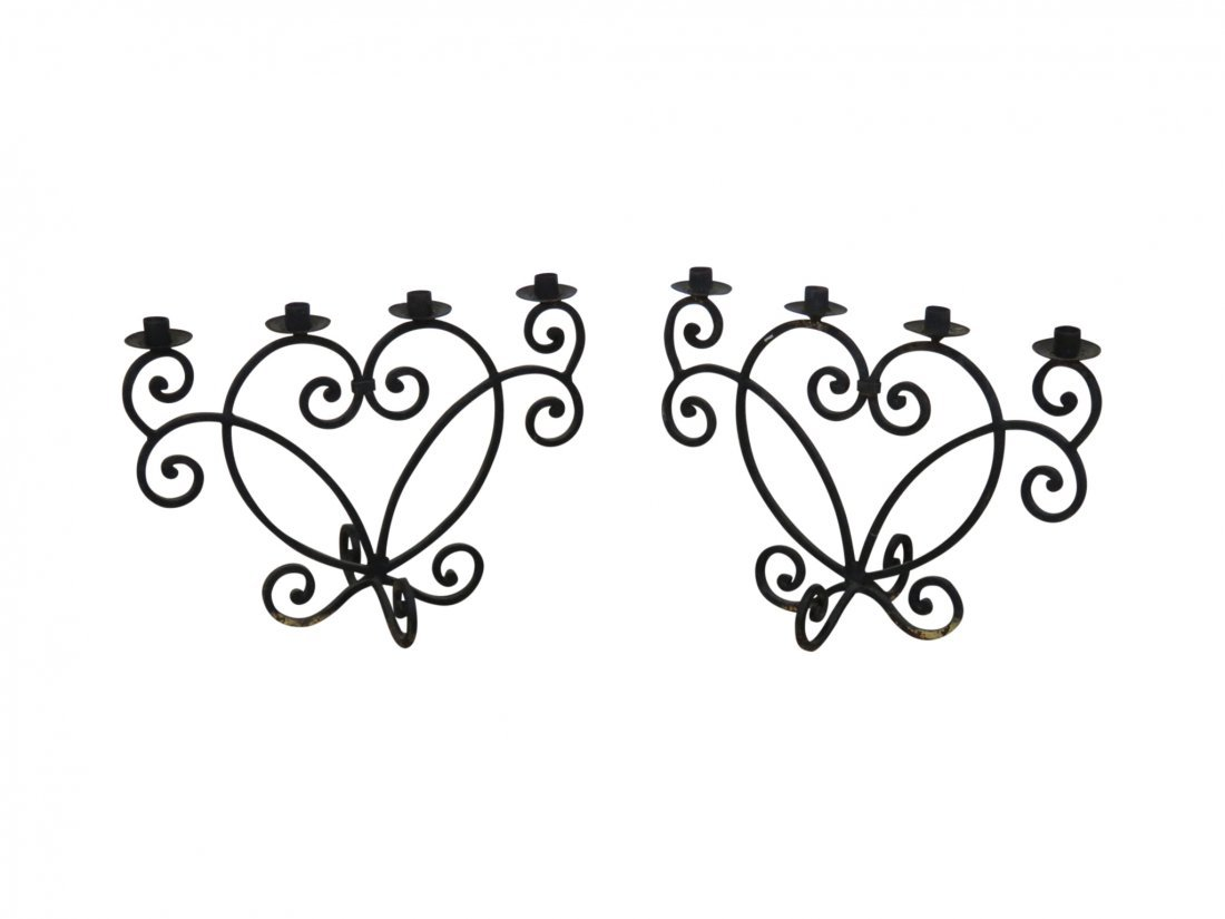 Pair WROUGHT IRON DECORATIVE CANDLE HOLDERS