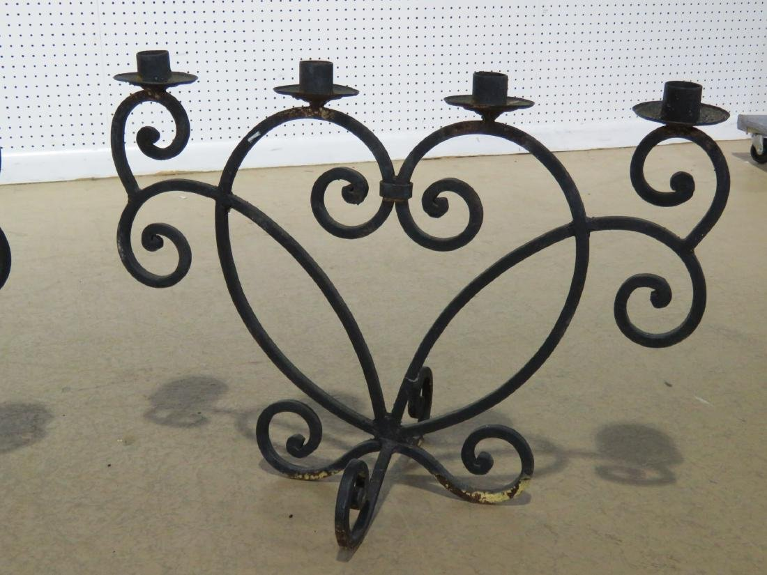 Pair WROUGHT IRON DECORATIVE CANDLE HOLDERS - 2