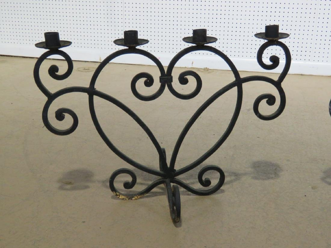 Pair WROUGHT IRON DECORATIVE CANDLE HOLDERS - 3