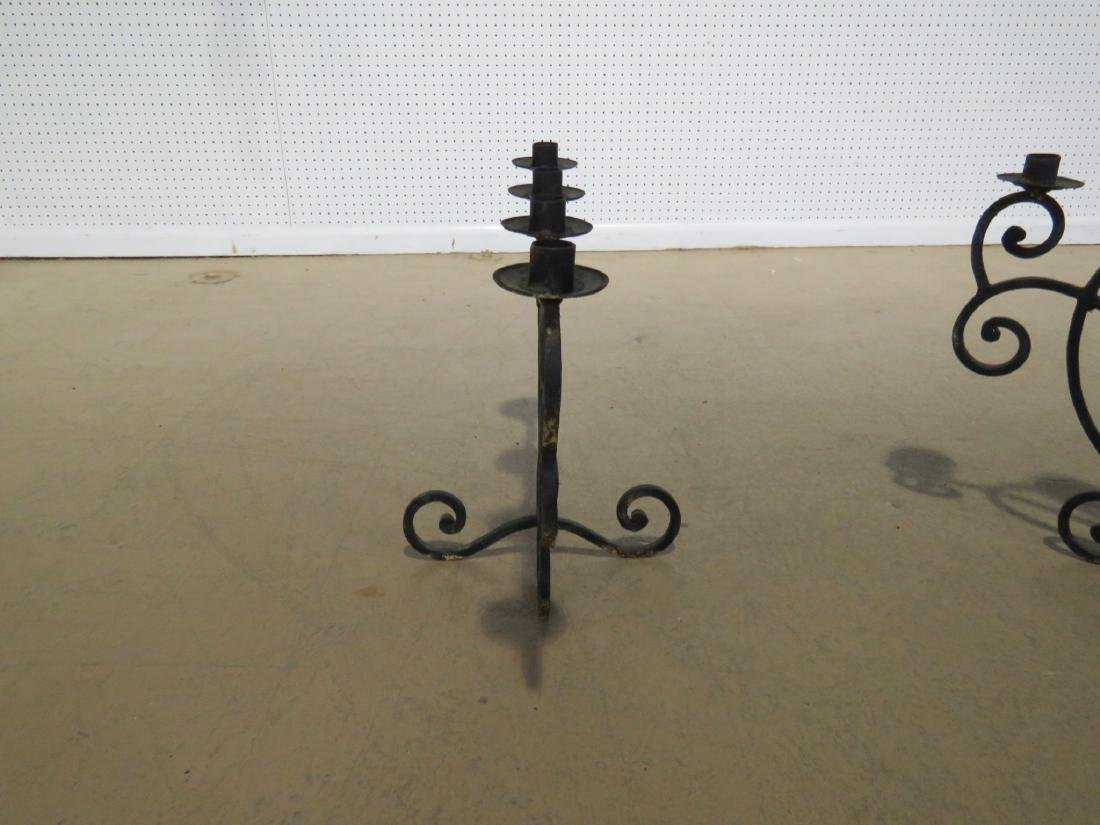 Pair WROUGHT IRON DECORATIVE CANDLE HOLDERS - 9
