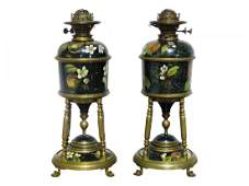 Pair VICTORIAN STYLE BRONZE & PAINTED OIL LAMPS