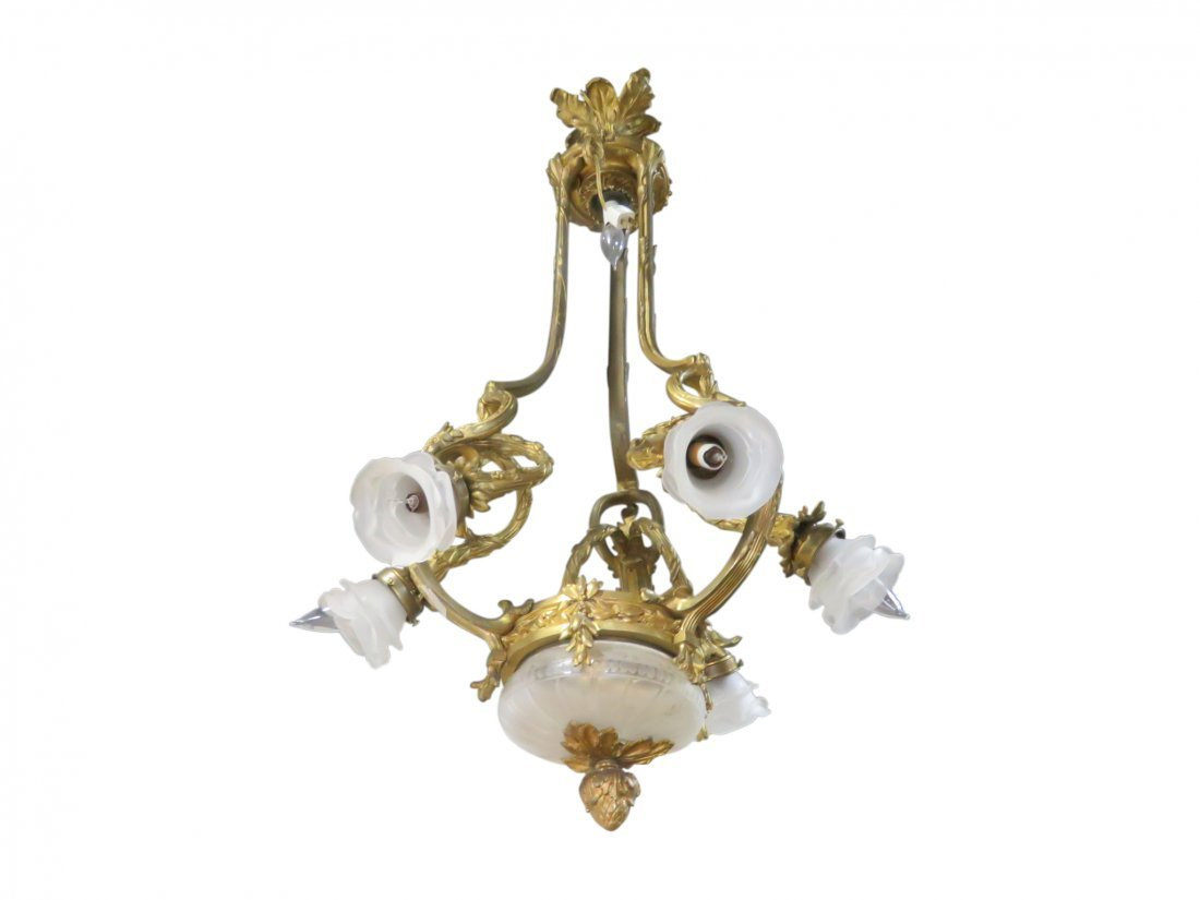 BRASS AND FROSTED GLASS CHANDELIER