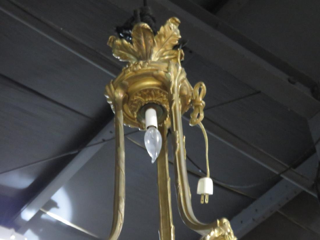BRASS AND FROSTED GLASS CHANDELIER - 6