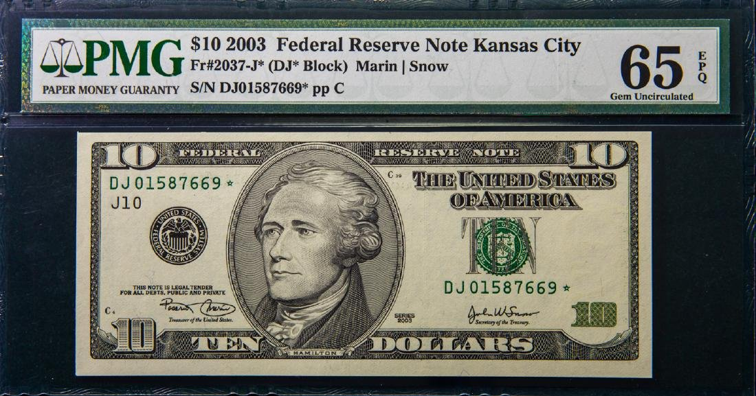 2003 TEN DOLLAR $10 FEDERAL RESERVE NOTE KANSAS CITY