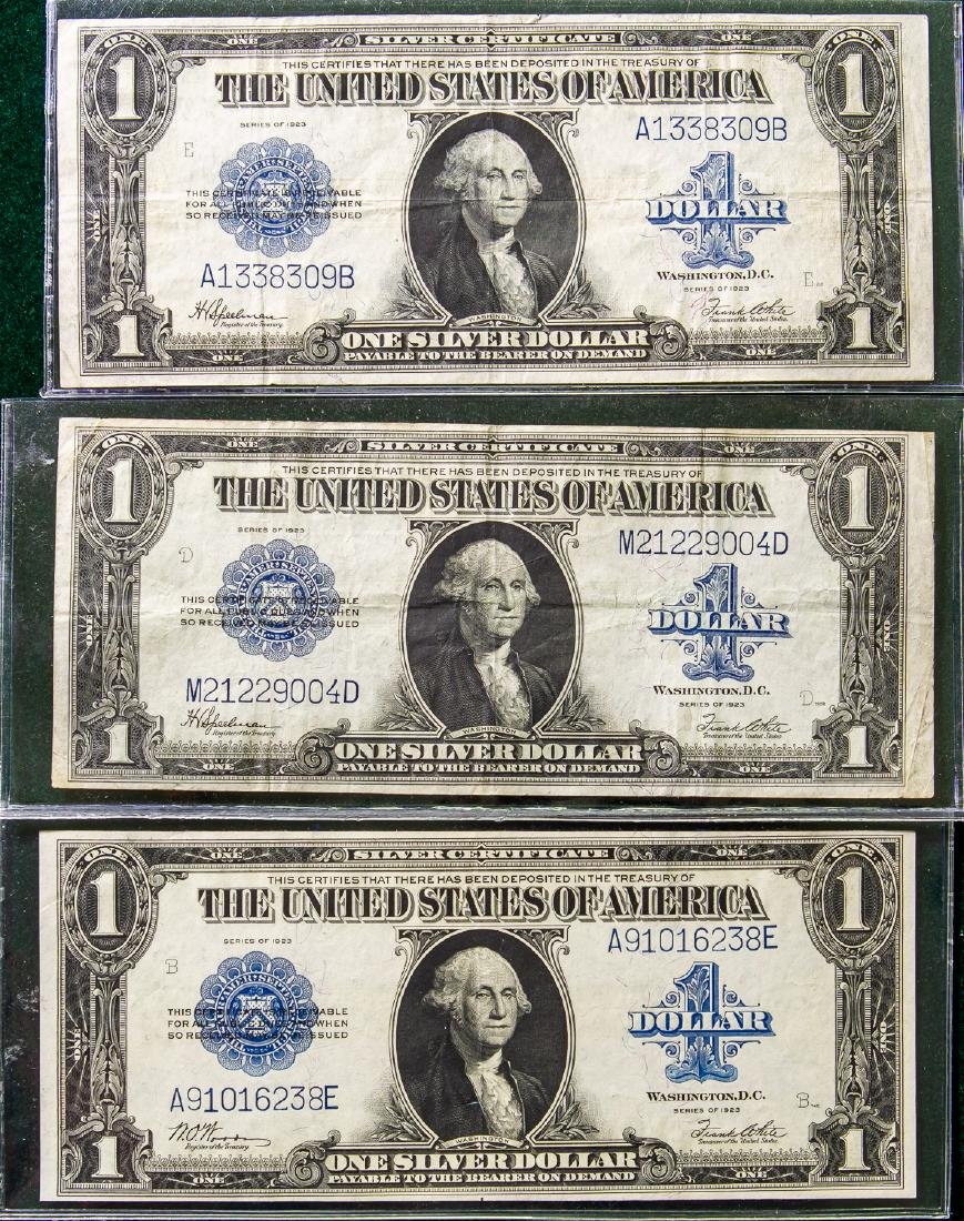 THREE 1923 ONE DOLLAR SILVER CERTIFICATES $1