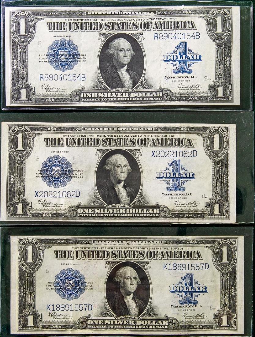 THREE 1923 ONE DOLLAR SILVER CERTIFICATES