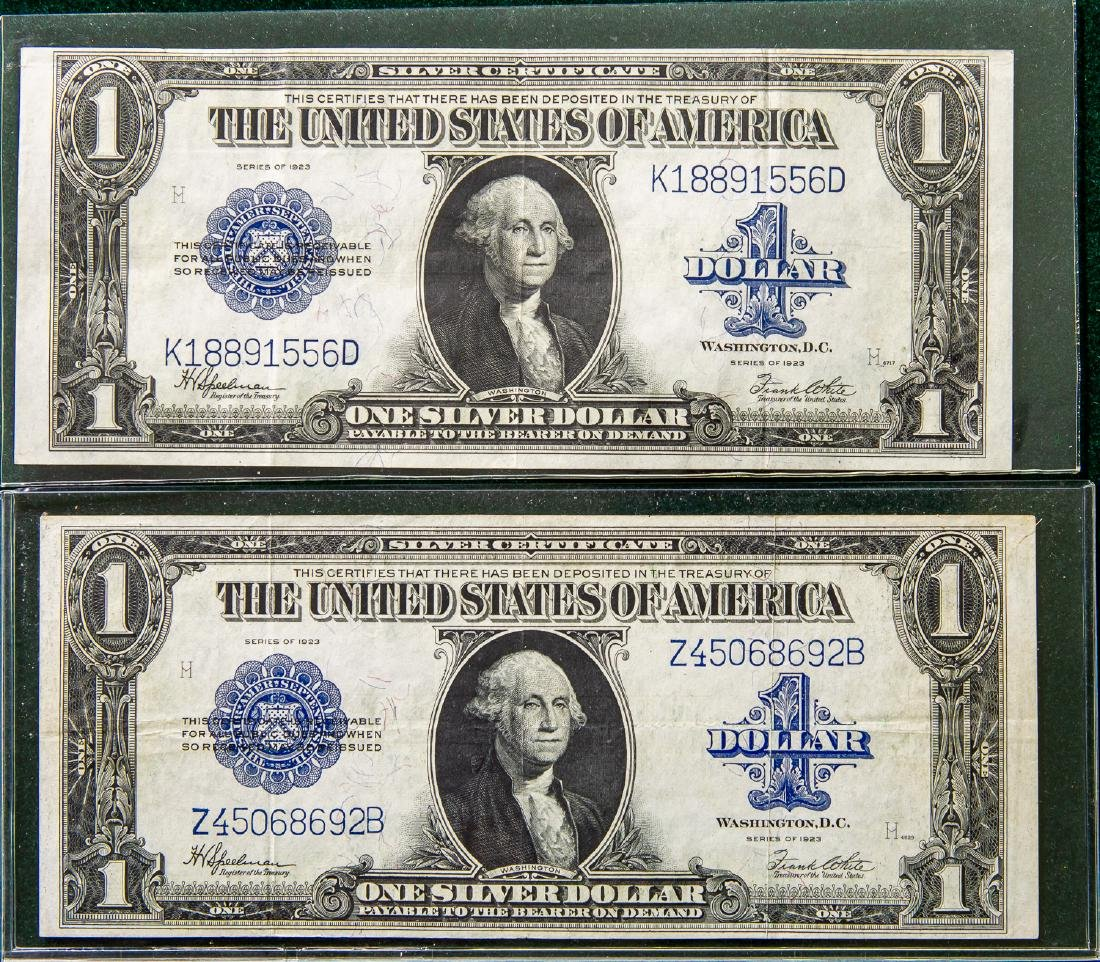 TWO 1923 ONE DOLLAR $1 SILVER CERTIFICATES