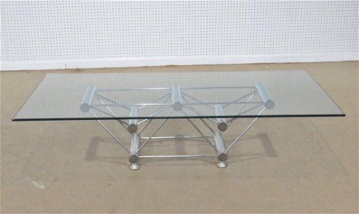 Italian Glass Coffee Table.Italian Glass Top Chrome Frame Coffee Table