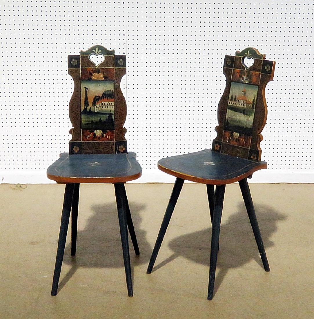 PAIR AUSTRIAN ANTIQUE PAINT DECORATED SIDE CHAIRS - 2