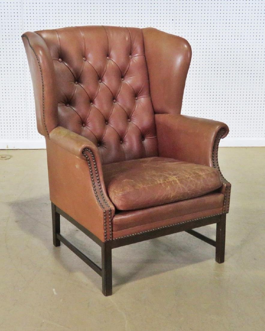 LEATHER CHESTERFIELD STYLE CHAIR