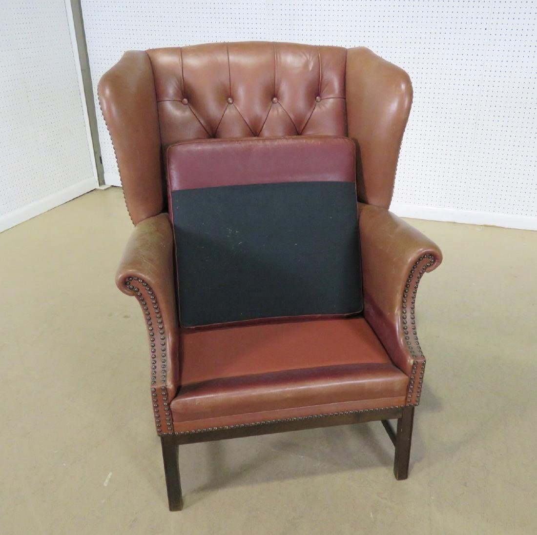 LEATHER CHESTERFIELD STYLE CHAIR - 2