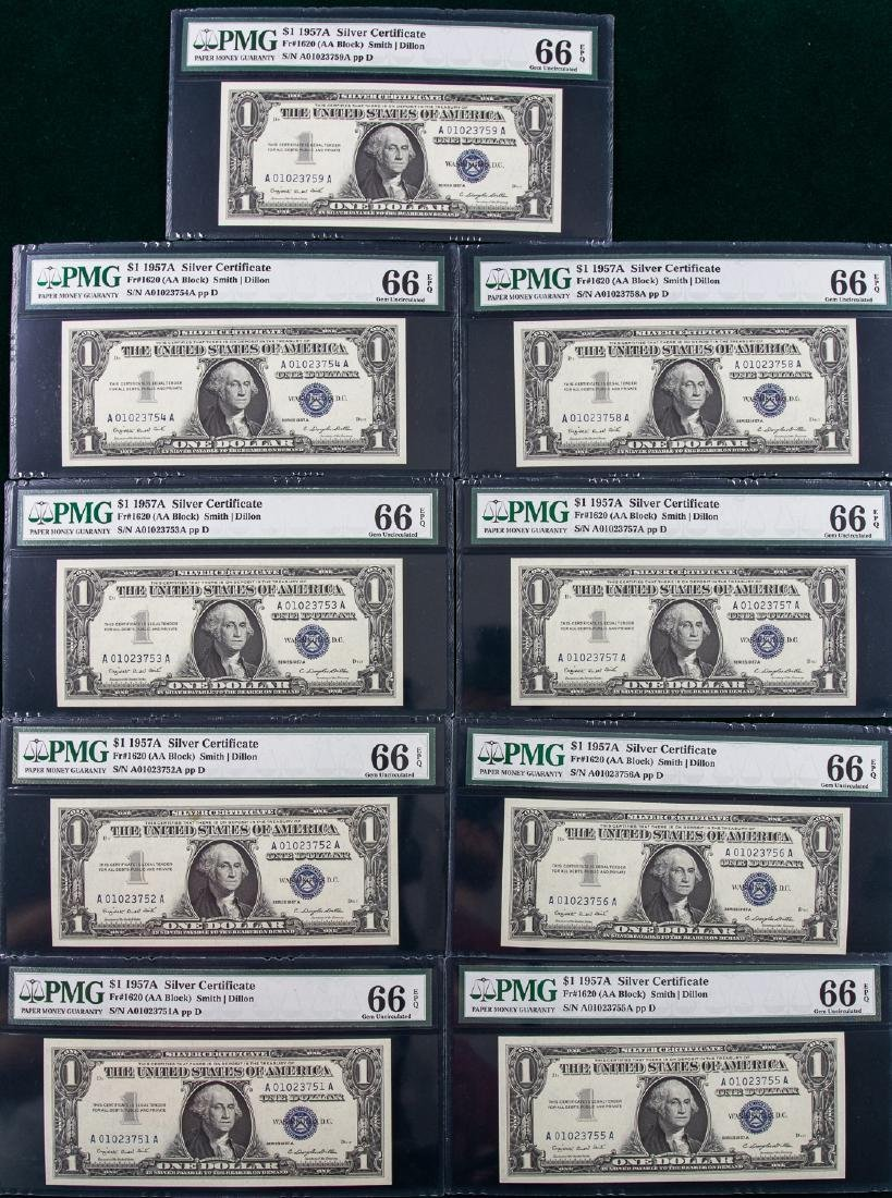 9 - 1957A $1 ONE DOLLAR SILVER CERTIFICATES