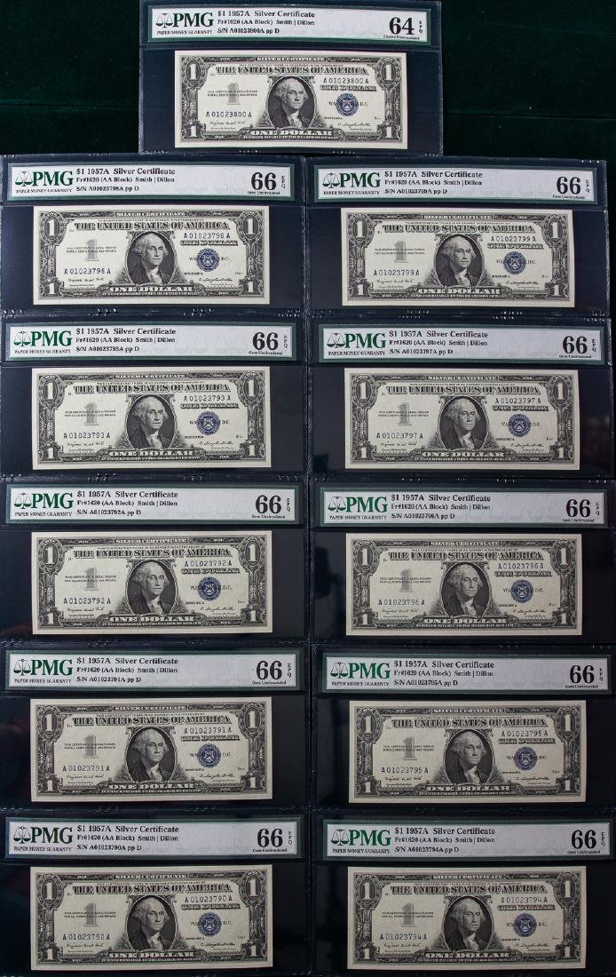 11 - 1957A $1 ONE DOLLAR SILVER CERTIFICATES