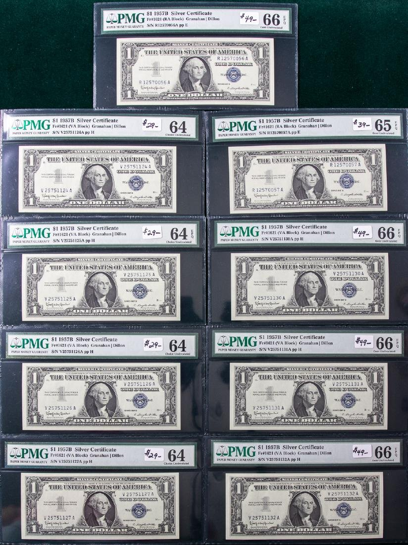 9 - 1957B $1 ONE DOLLAR SILVER CERTIFICATES