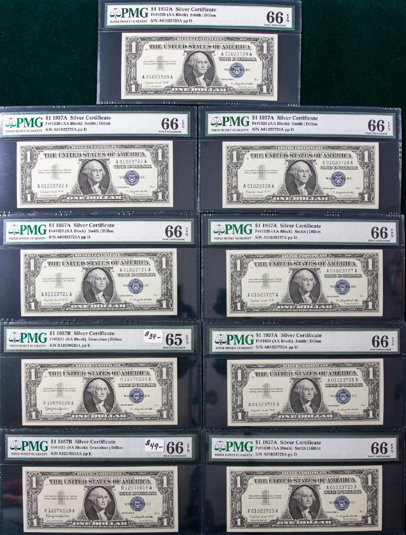 9 - 1957 $1 ONE DOLLAR SILVER CERTIFICATES