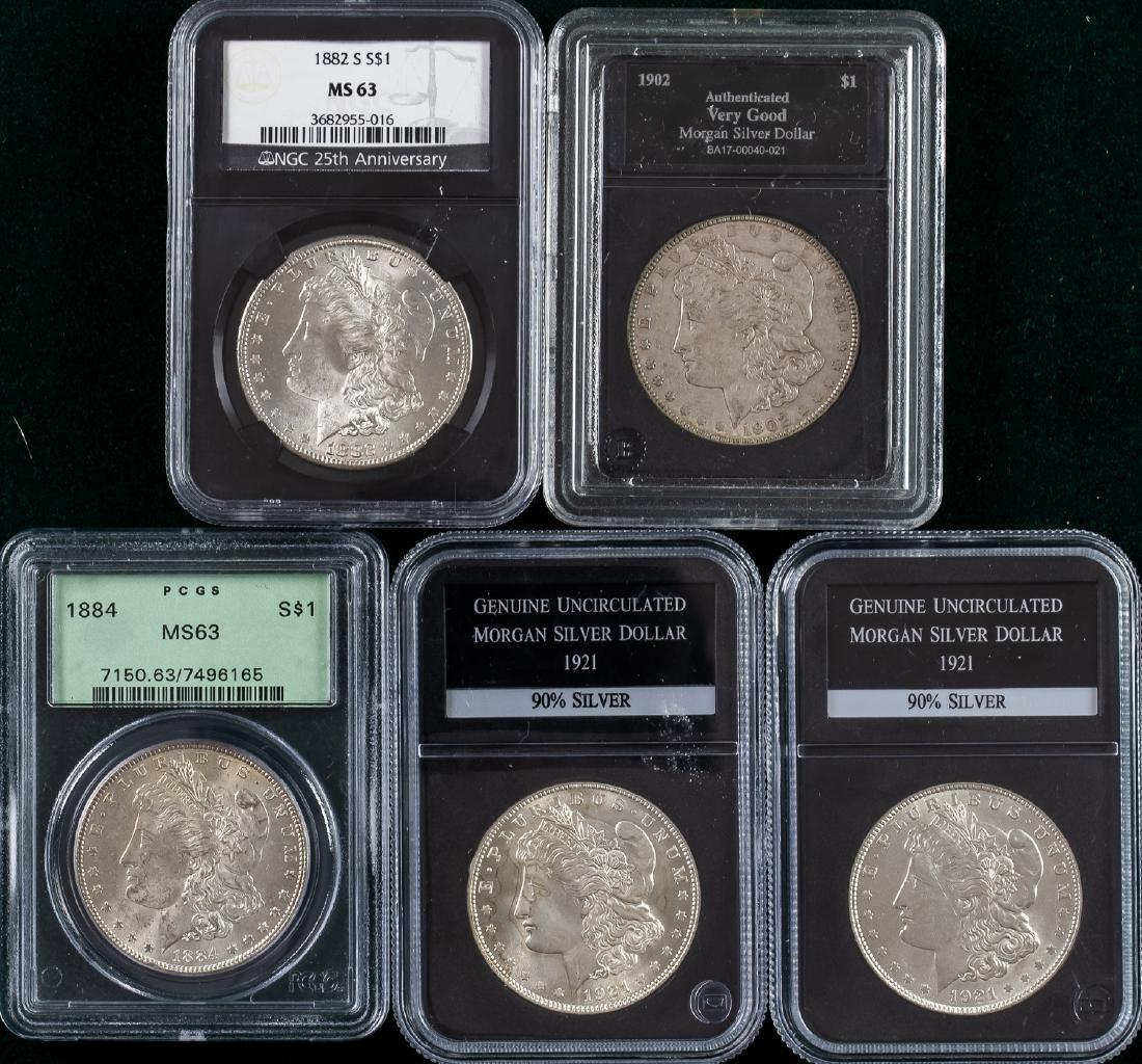 5 - 1882 - 1921 MORGAN SILVER DOLLARS $1