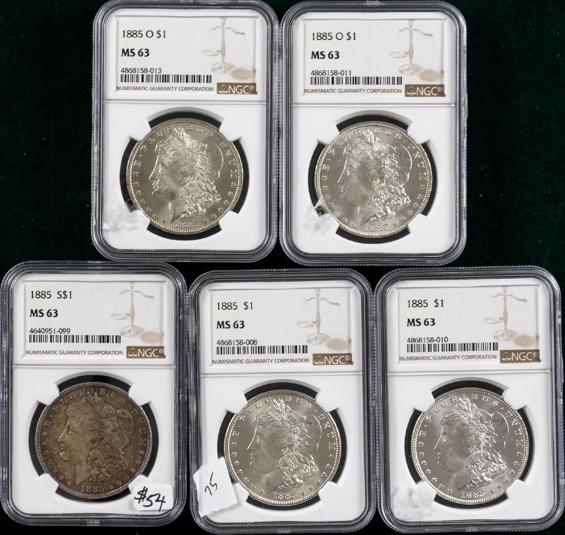5 - 1885 MORGAN SILVER DOLLARS