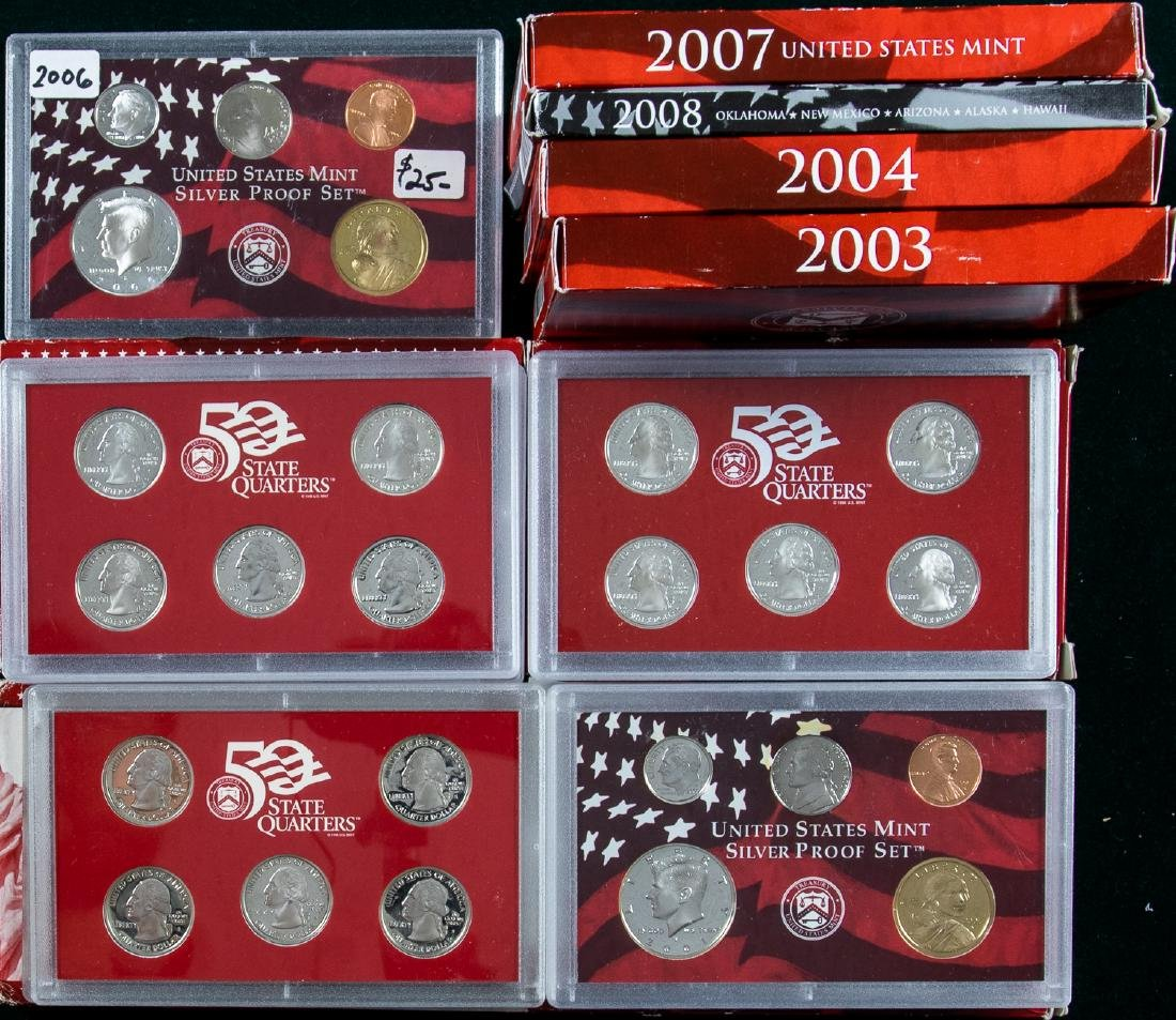 12 UNITED STATES MINT SILVER PROOF SETS