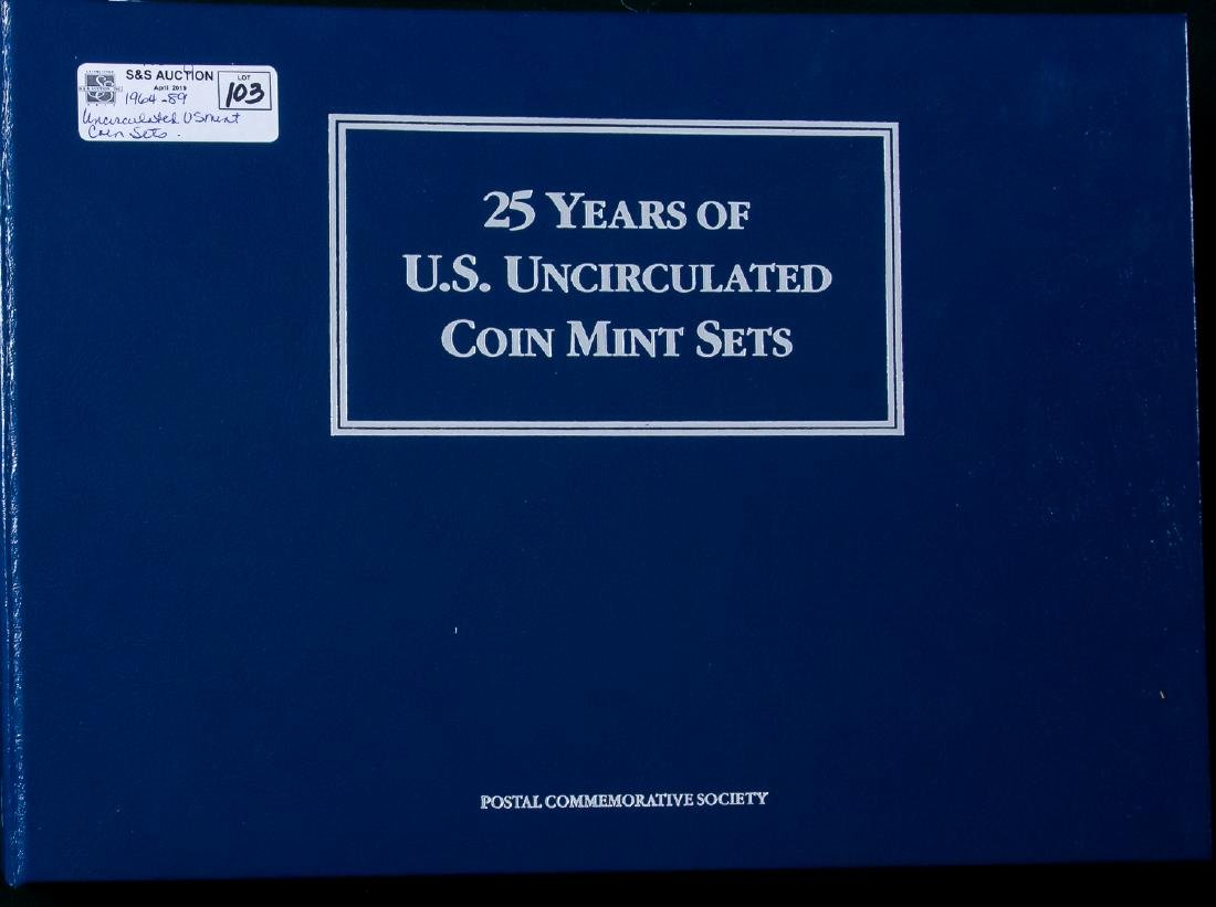 1964 -1989 US MINT UNCIRCULATED COIN SETS IN BOOK